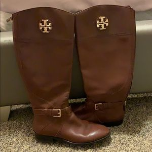 Tory Burch knee high brown/gold riding boots